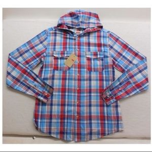 New Levi's Red & Blue Plaid Hooded Button Up Shirt